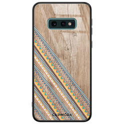 Casimoda Samsung Galaxy S10e glazen hardcase - Wooden stripes