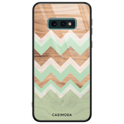 Casimoda Samsung Galaxy S10e glazen hardcase - Mint wood chevron