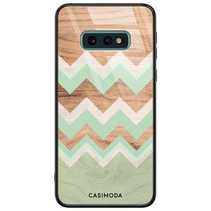 Casimoda Samsung Galaxy S10e glazen hardcase - Mint wood chevron