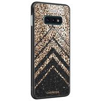 Casimoda Samsung Galaxy S10e glazen hardcase - Chevron luipaard
