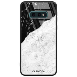 Casimoda Samsung Galaxy S10e glazen hardcase - Marmer zwart grijs