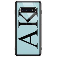 Casimoda Samsung Galaxy S10 glazen hoesje ontwerpen - Blauw initialen