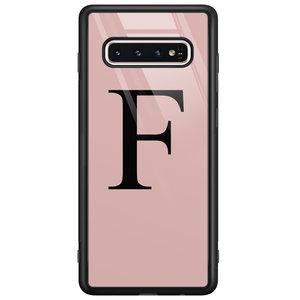 Casimoda Samsung Galaxy S10 glazen hoesje ontwerpen - Roze initialen