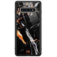 Casimoda Samsung Galaxy S10 glazen hoesje ontwerpen - Marmer zwart oranje