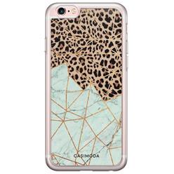 iPhone 6/6s siliconen hoesje - Luipaard marmer mint