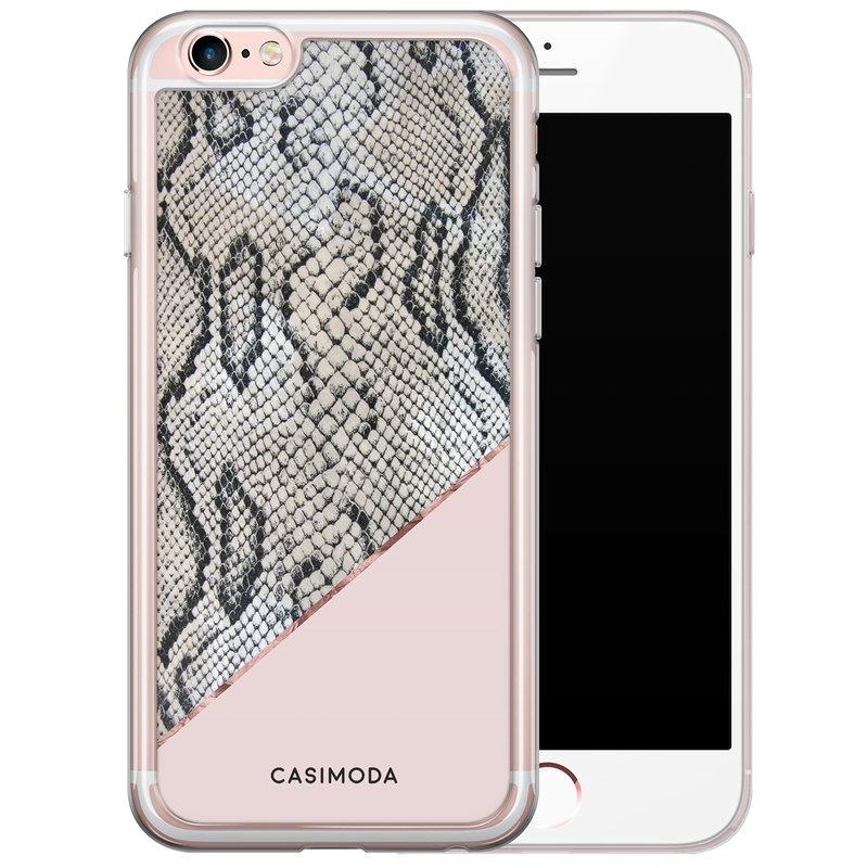 Casimoda iPhone 6/6s siliconen hoesje - Slangenprint roze