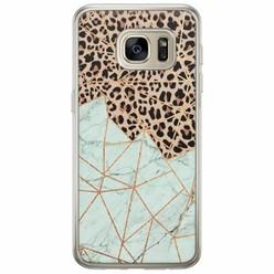 Casimoda Samsung Galaxy S7 Edge siliconen hoesje - Luipaard marmer mint