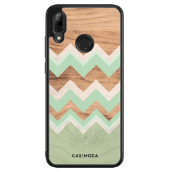 Casimoda Huawei P Smart 2019 hoesje - Mint wood chevron