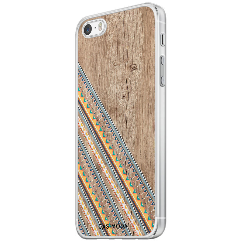 Casimoda iPhone 5/5S/SE siliconen hoesje - Wooden stripes