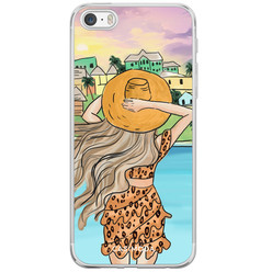 iPhone 5/5S/SE siliconen hoesje - Sunset girl