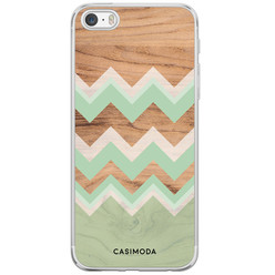 iPhone 5/5S/SE siliconen hoesje - Mint wooden chevron