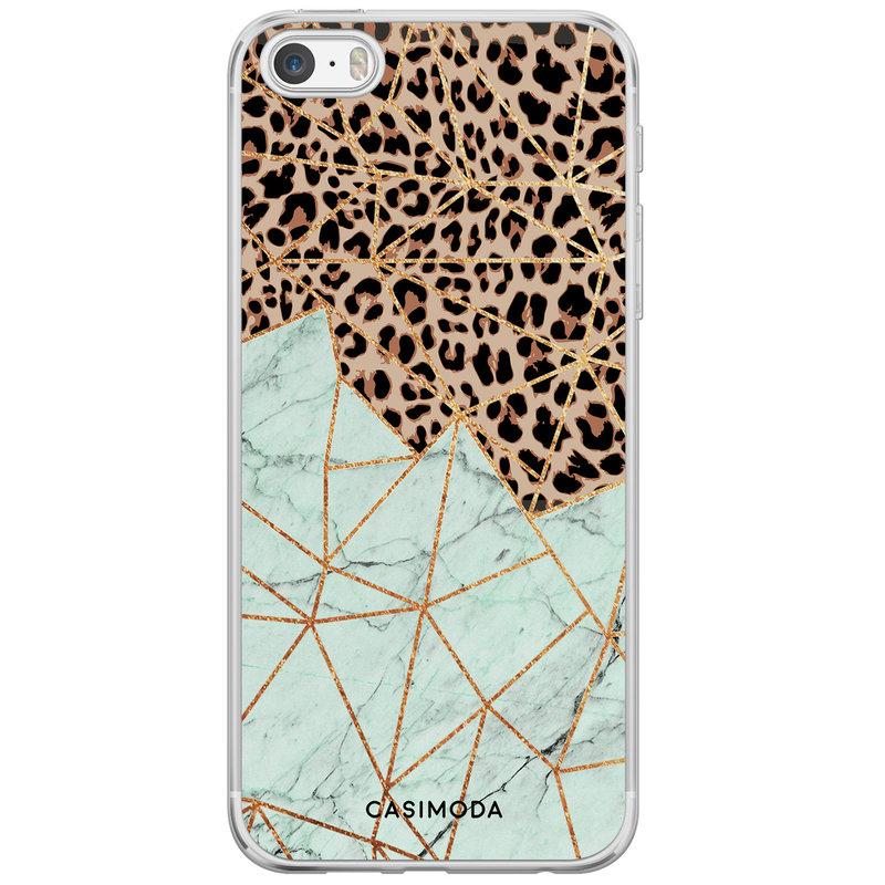 Casimoda iPhone 5/5S/SE siliconen hoesje - Luipaard marmer mint