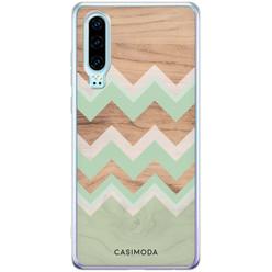 Casimoda Huawei P30 siliconen hoesje - Mint wooden chevron