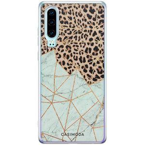 Casimoda Huawei P30 siliconen hoesje - Luipaard marmer mint