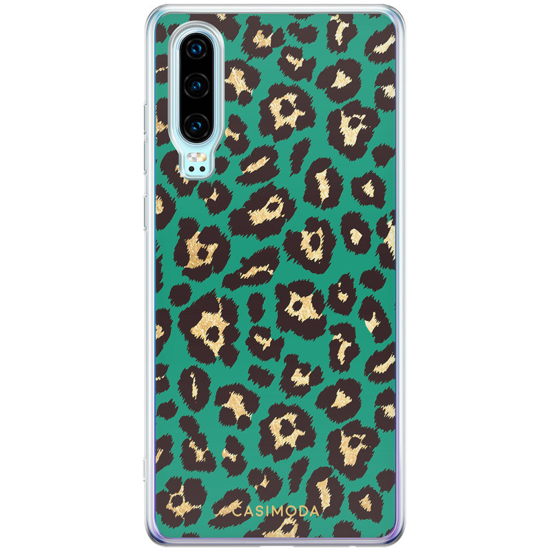 Casimoda Huawei P30 siliconen hoesje - Luipaard groen