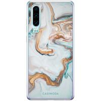 Casimoda Huawei P30 siliconen hoesje - Marmer blauw goud