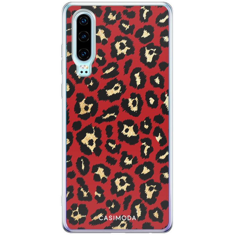 Casimoda Huawei P30 siliconen telefoonhoesje - Luipaard rood