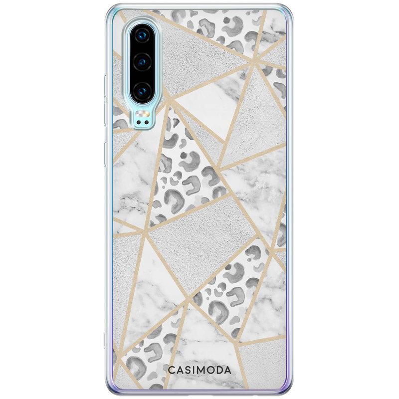 Casimoda Huawei P30 siliconen telefoonhoesje - Stone & leopard print