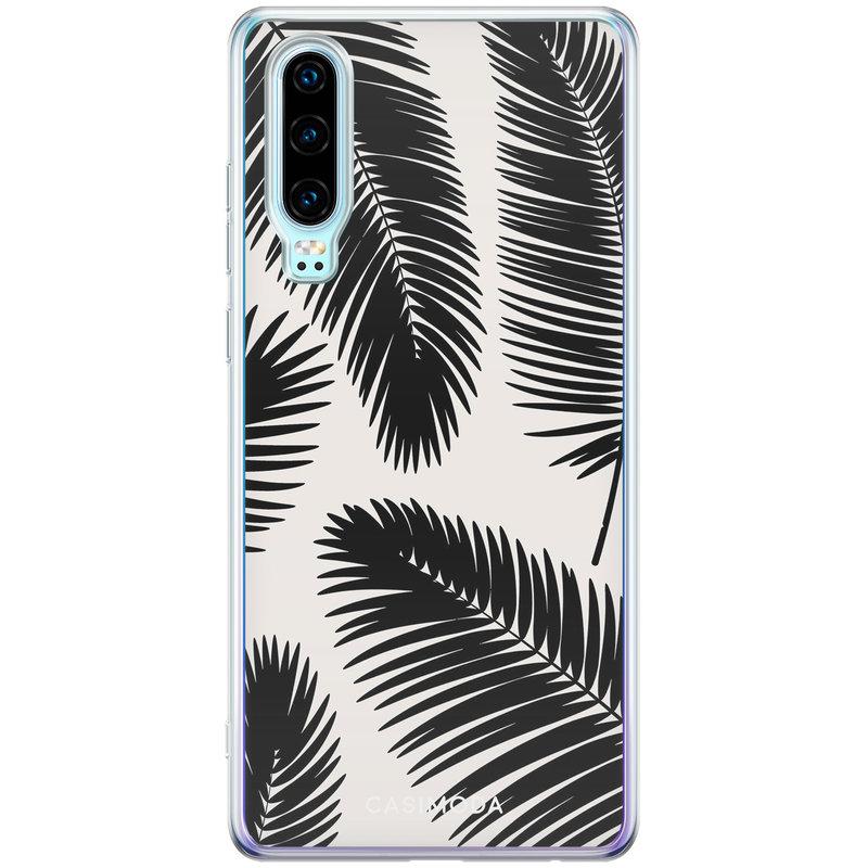 Casimoda Huawei P30 siliconen telefoonhoesje - Palm leaves silhouette