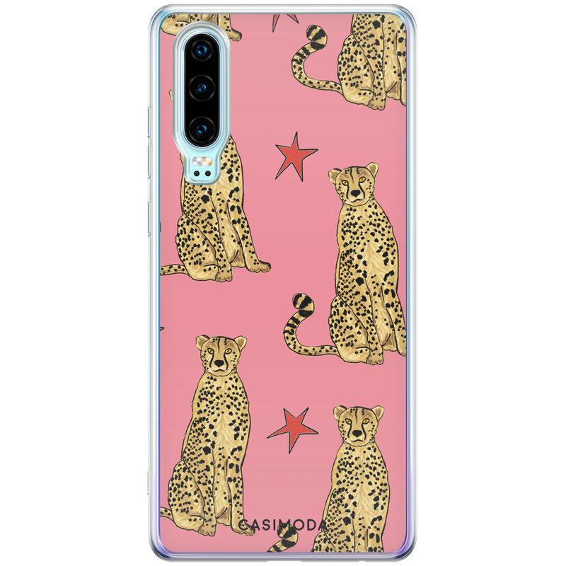 Casimoda Huawei P30 siliconen hoesje - The pink leopard