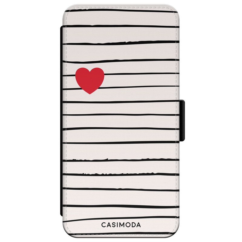 Casimoda iPhone XR flipcase hoesje - Heart stripes