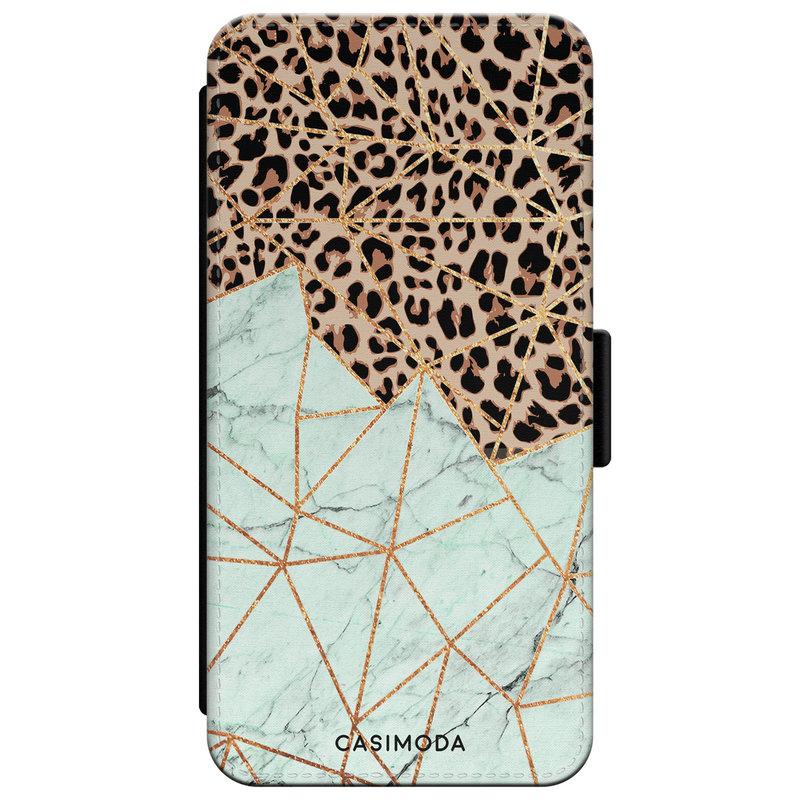 Casimoda iPhone XR flipcase - Luipaard marmer mint