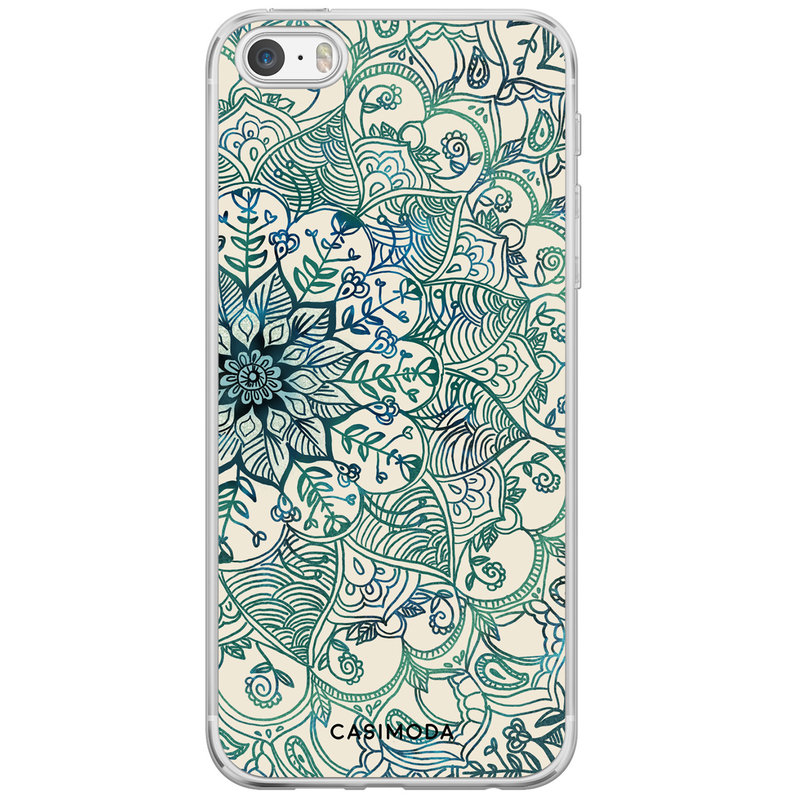 Casimoda iPhone 5/5S/SE siliconen hoesje - Mandala blauw
