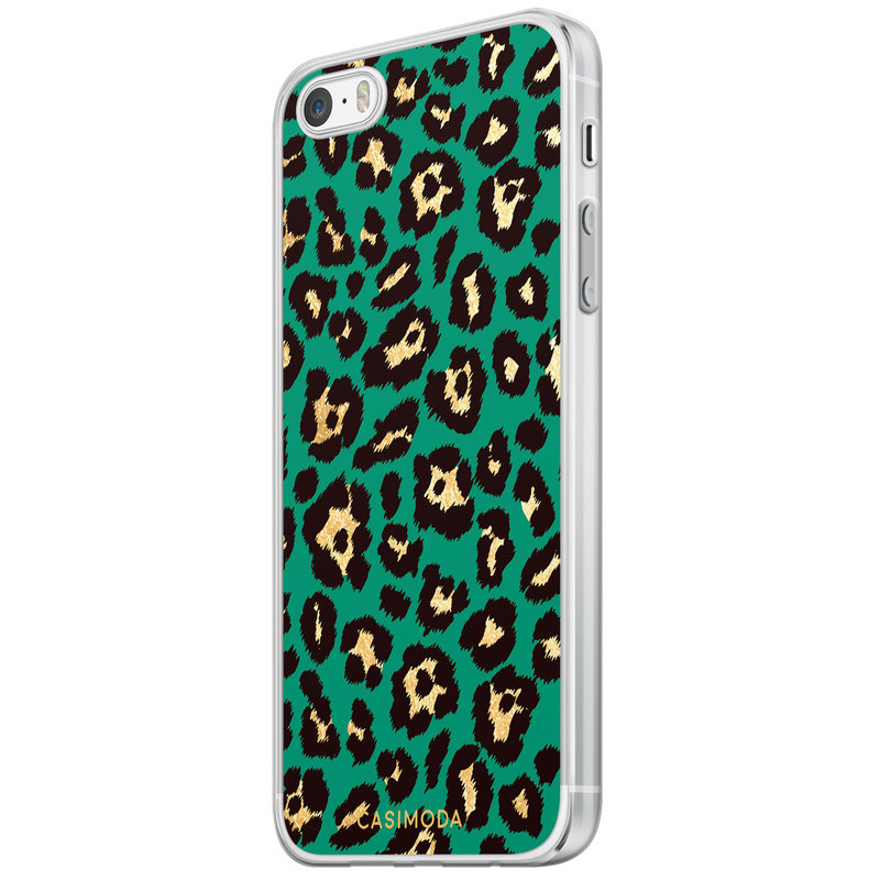 Casimoda iPhone 5/5S/SE siliconen hoesje - Luipaard groen