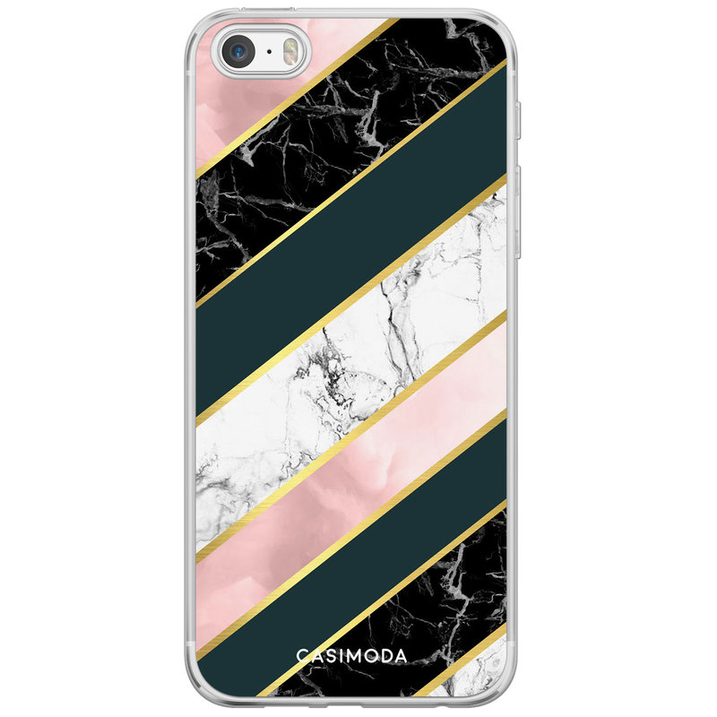 Casimoda iPhone 5/5S/SE siliconen hoesje - Marble stripes