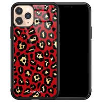 Casimoda iPhone 11 Pro glazen hardcase - Luipaard rood