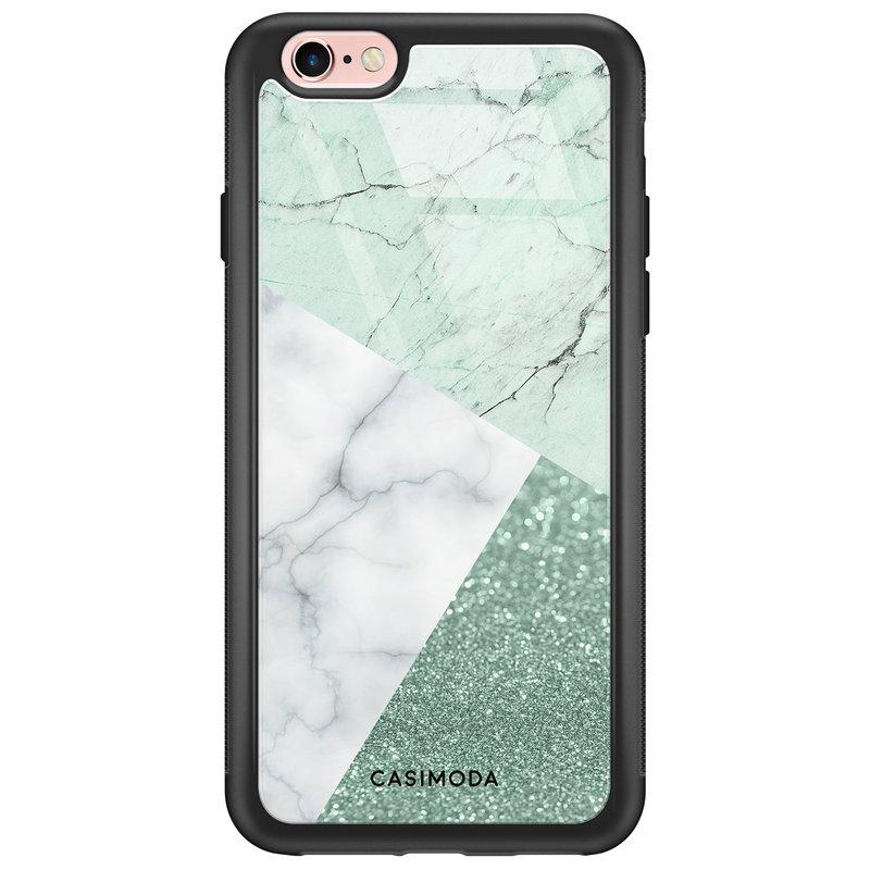 Casimoda iPhone 6/6s glazen hardcase - Minty marmer collage