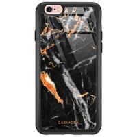 Casimoda iPhone 6/6s glazen hardcase - Marmer zwart oranje