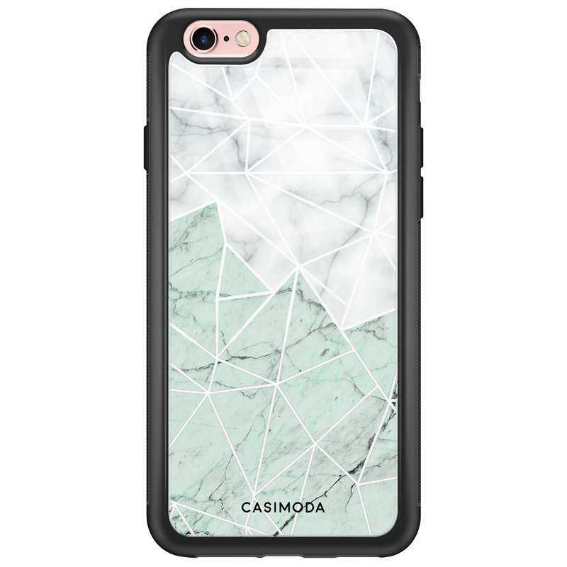 Casimoda iPhone 6/6s glazen hardcase - Marmer mint mix