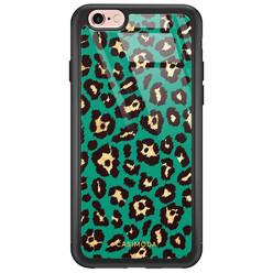 iPhone 6/6s glazen hardcase - Luipaard groen