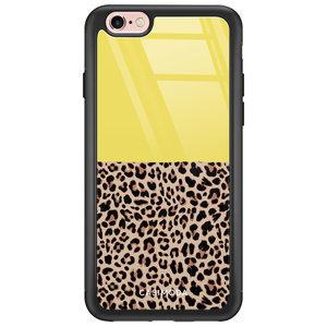 iPhone 6/6s glazen hardcase - Luipaard geel