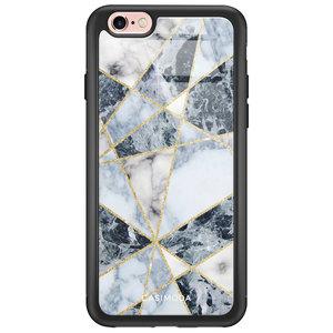 iPhone 6/6s glazen hardcase - Abstract marmer blauw