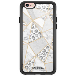 iPhone 6/6s glazen hardcase - Stone & leopard