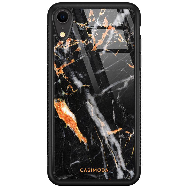 Casimoda iPhone XR glazen case naam - Marmer zwart oranje