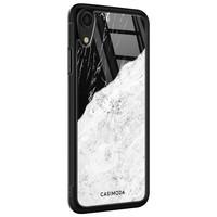 Casimoda iPhone XR glazen case naam - Marmer zwart grijs