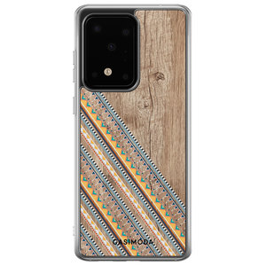 Casimoda Samsung Galaxy S20 Ultra siliconen hoesje - Wooden stripes