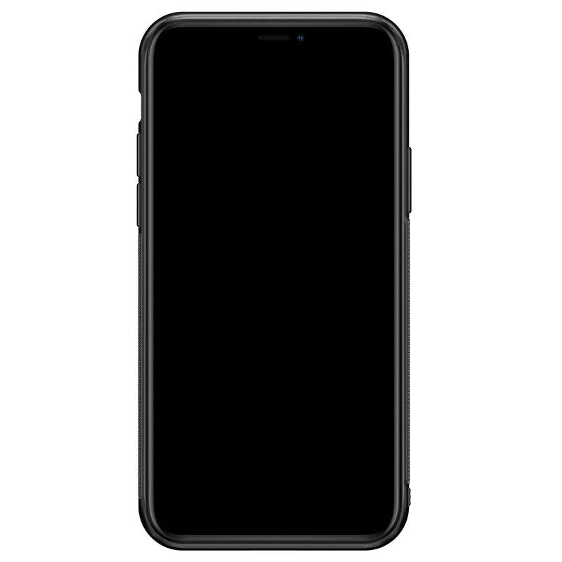 iPhone 11 Pro glazen hoesje ontwerpen - Roze initialen