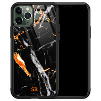 iPhone 11 Pro glazen hoesje ontwerpen - Marmer zwart oranje