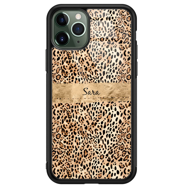 iPhone 11 Pro glazen hoesje ontwerpen - Luipaard goud