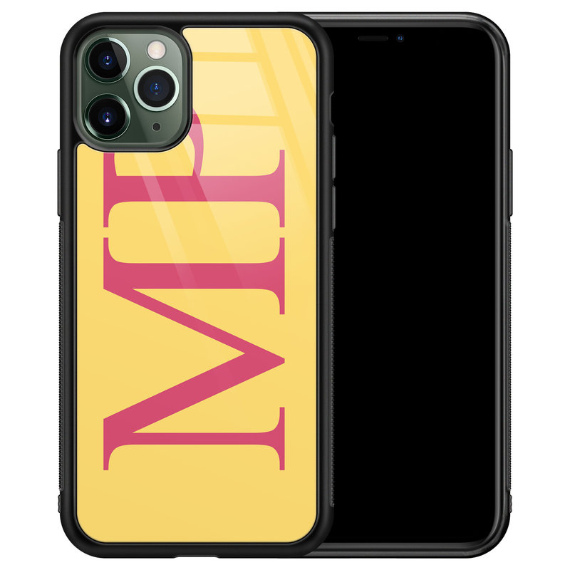 iPhone 11 Pro glazen hoesje ontwerpen - Geel initialen