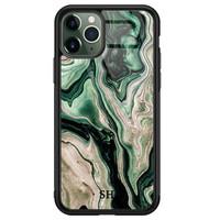 iPhone 11 Pro glazen hoesje ontwerpen - Green waves