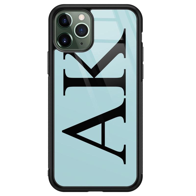 iPhone 11 Pro Max glazen hoesje ontwerpen - Blauw initialen