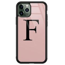 iPhone 11 Pro Max glazen hoesje ontwerpen - Roze initialen