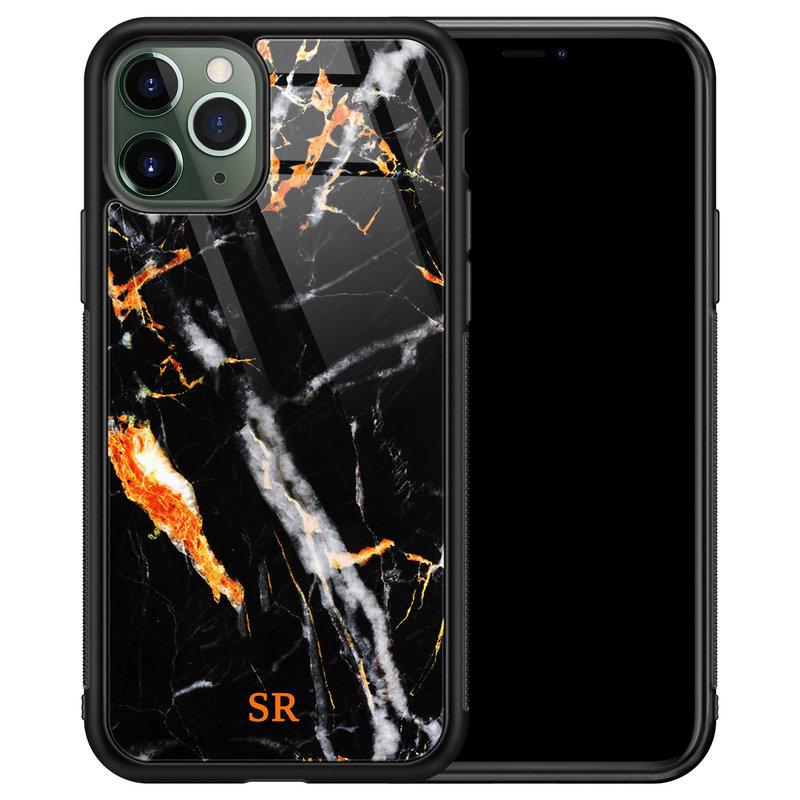 iPhone 11 Pro Max glazen hoesje ontwerpen - Marmer zwart oranje