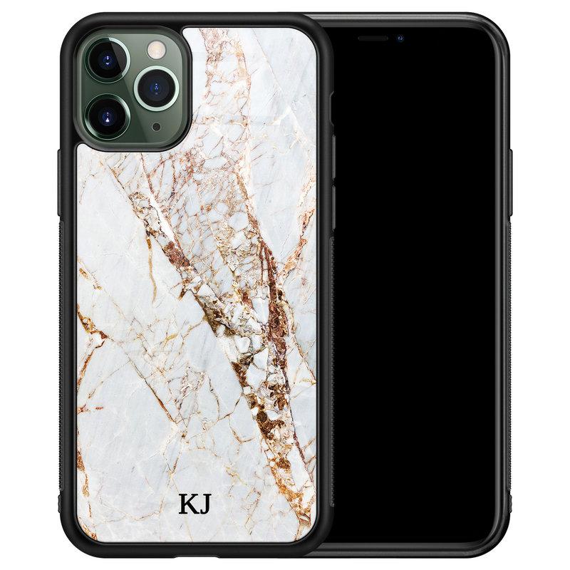 iPhone 11 Pro Max glazen hoesje ontwerpen - Marmer goud
