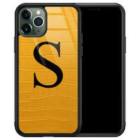 iPhone 11 Pro Max glazen hoesje ontwerpen - Croco geel